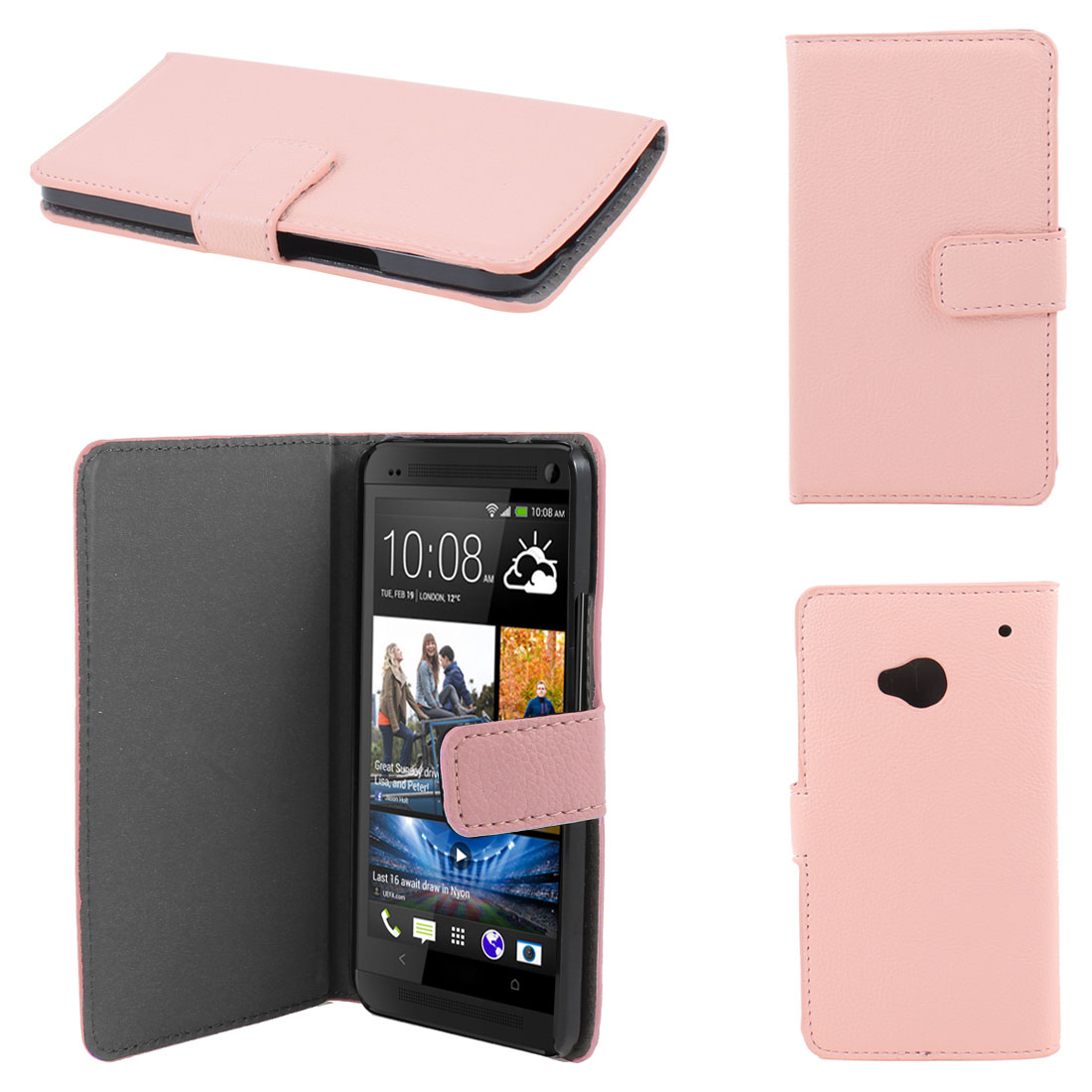 Pink Faux Leather Litchi Print Magnetic Flip Case Cover Pouch for HTC one M7