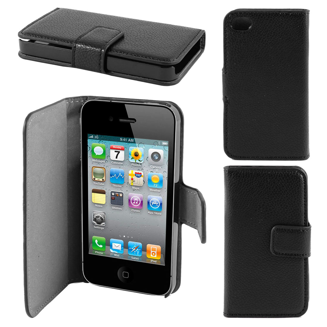 Black Magnetic Flap Faux Leather Case Cover Pouch for Apple iPhone 4 4G