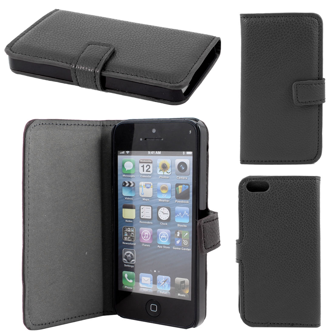 Black Lichee Pattern Faux Leather Flip Case Cover for Apple iPhone 5 5G