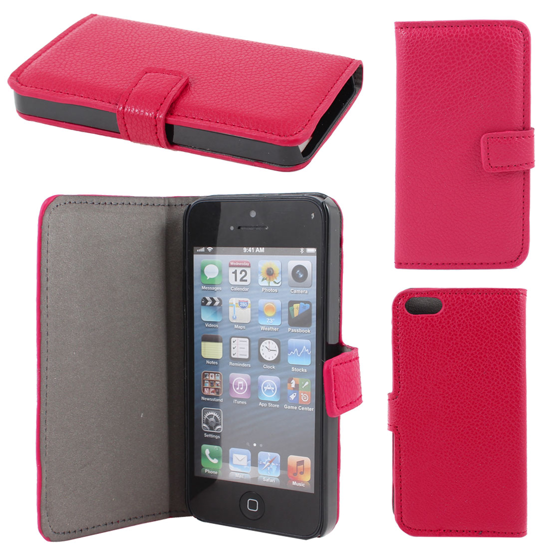 Red Lichee Pattern Faux Leather Flip Case Cover for Apple iPhone 5 5G