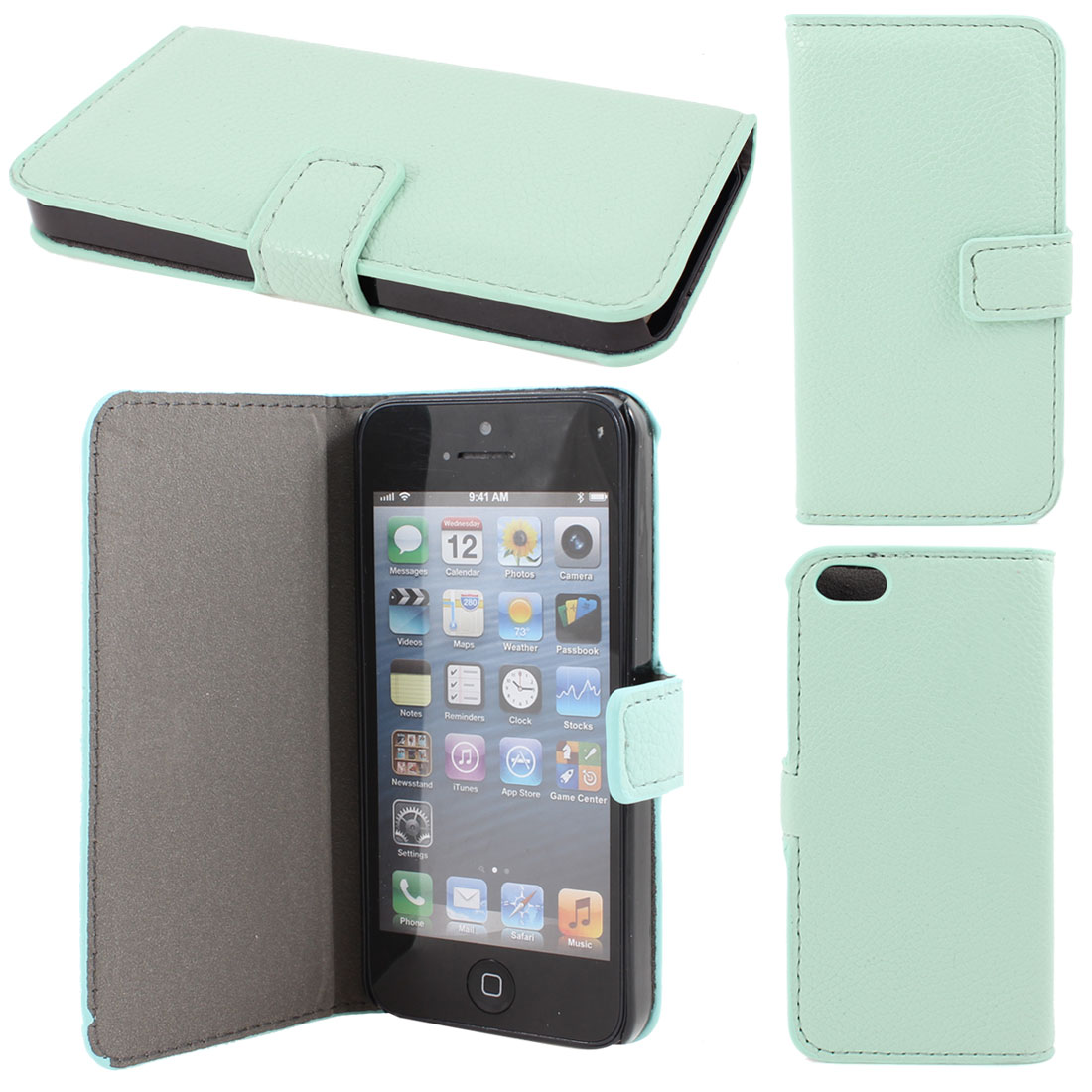 Light Aqua Litchi Pattern Faux Leather Flip Case Cover for Apple iPhone 5 5G
