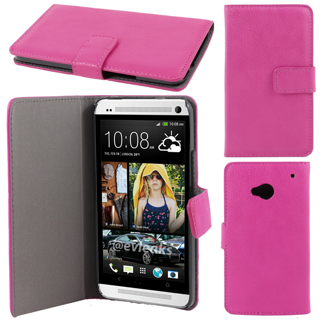 Fuchsia Faux Leather Litchi Print Magnetic Flip Case Cover Pouch for HTC one M7
