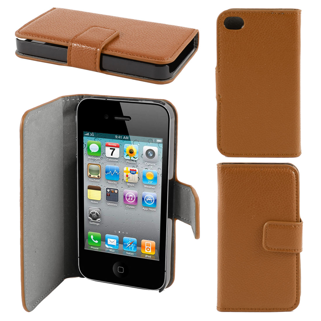 Brown Faux Leather Magnetic Flap Case Cover Pouch for Apple iPhone 4 4G 4th Gen