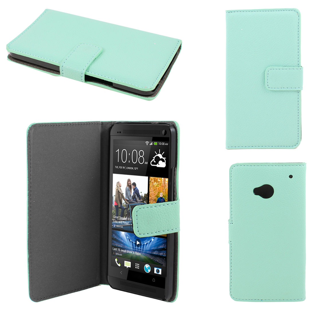 Cyan Faux Leather Litchi Print Magnetic Flip Case Cover Pouch for HTC one M7