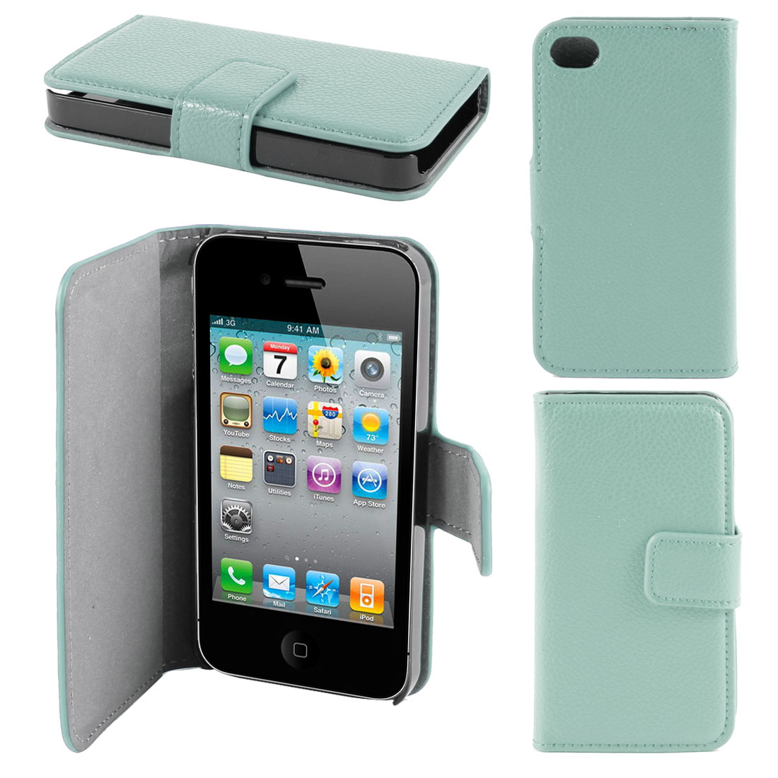 Turquoise Faux Leather Flap Case Cover Pouch for Apple iPhone 4 4G 4th Gen