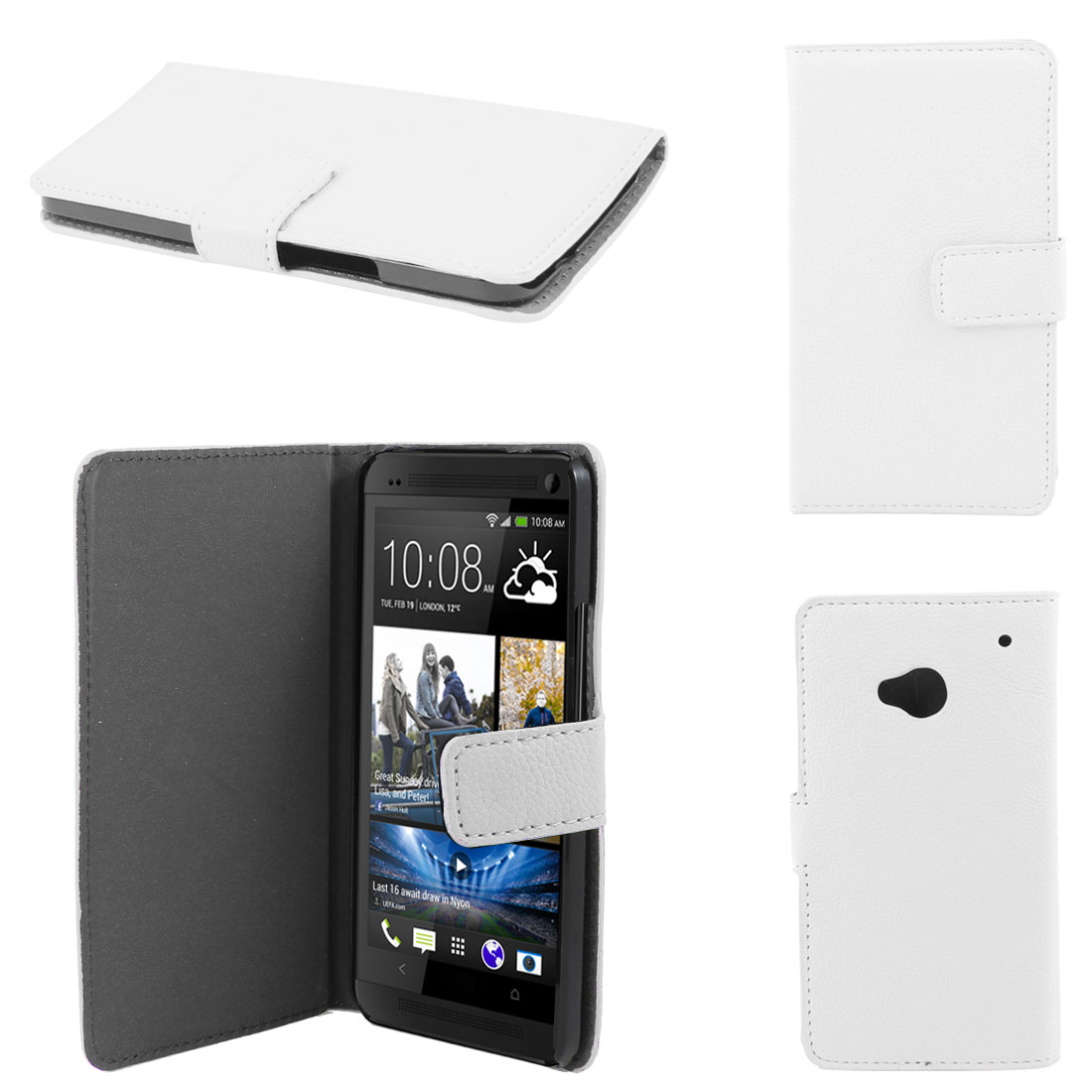 White Faux Leather Litchi Print Magnetic Flip Case Cover Pouch for HTC one M7