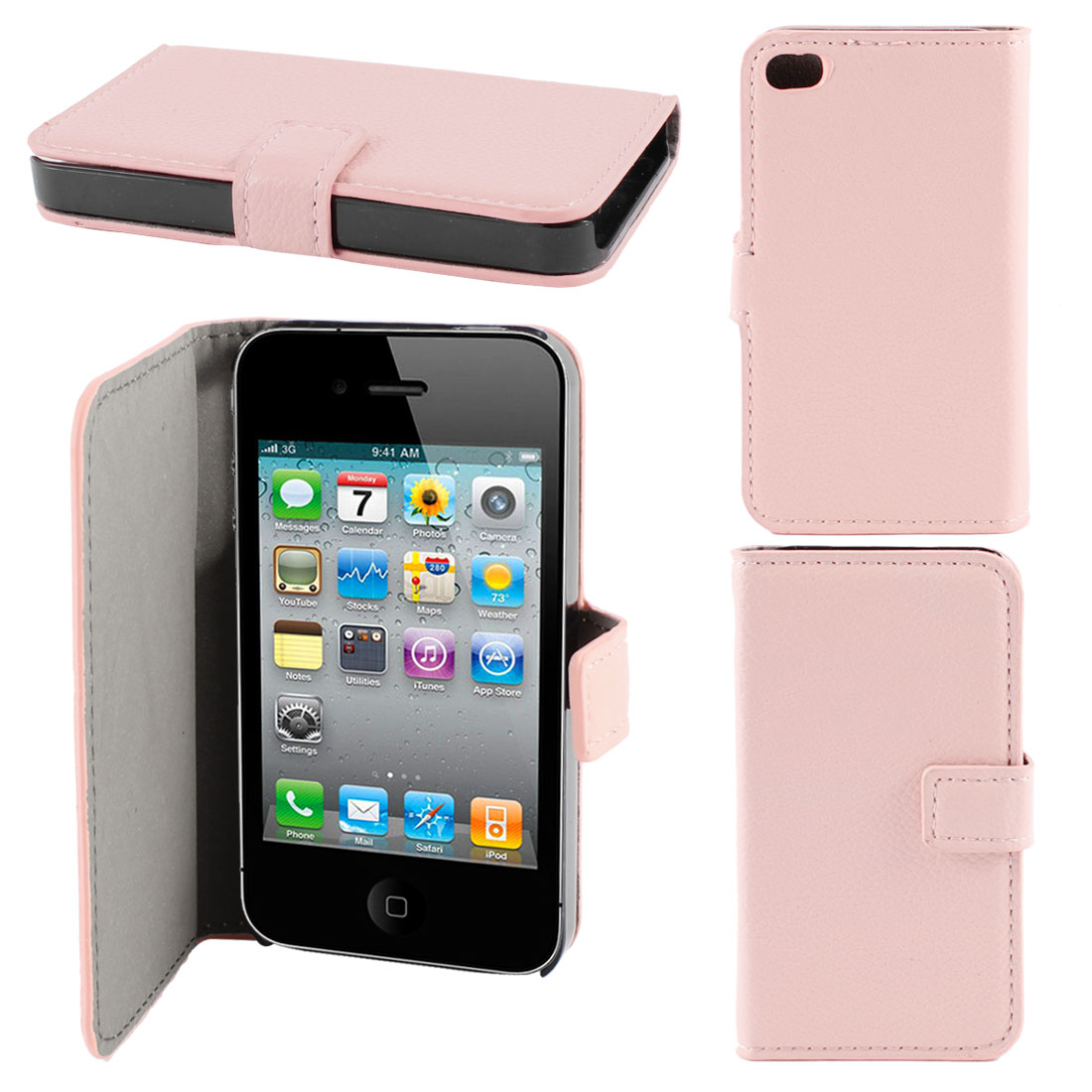 Pink Faux Leather Flap Case Cover Pouch for Apple iPhone 4 4G 4th Gen