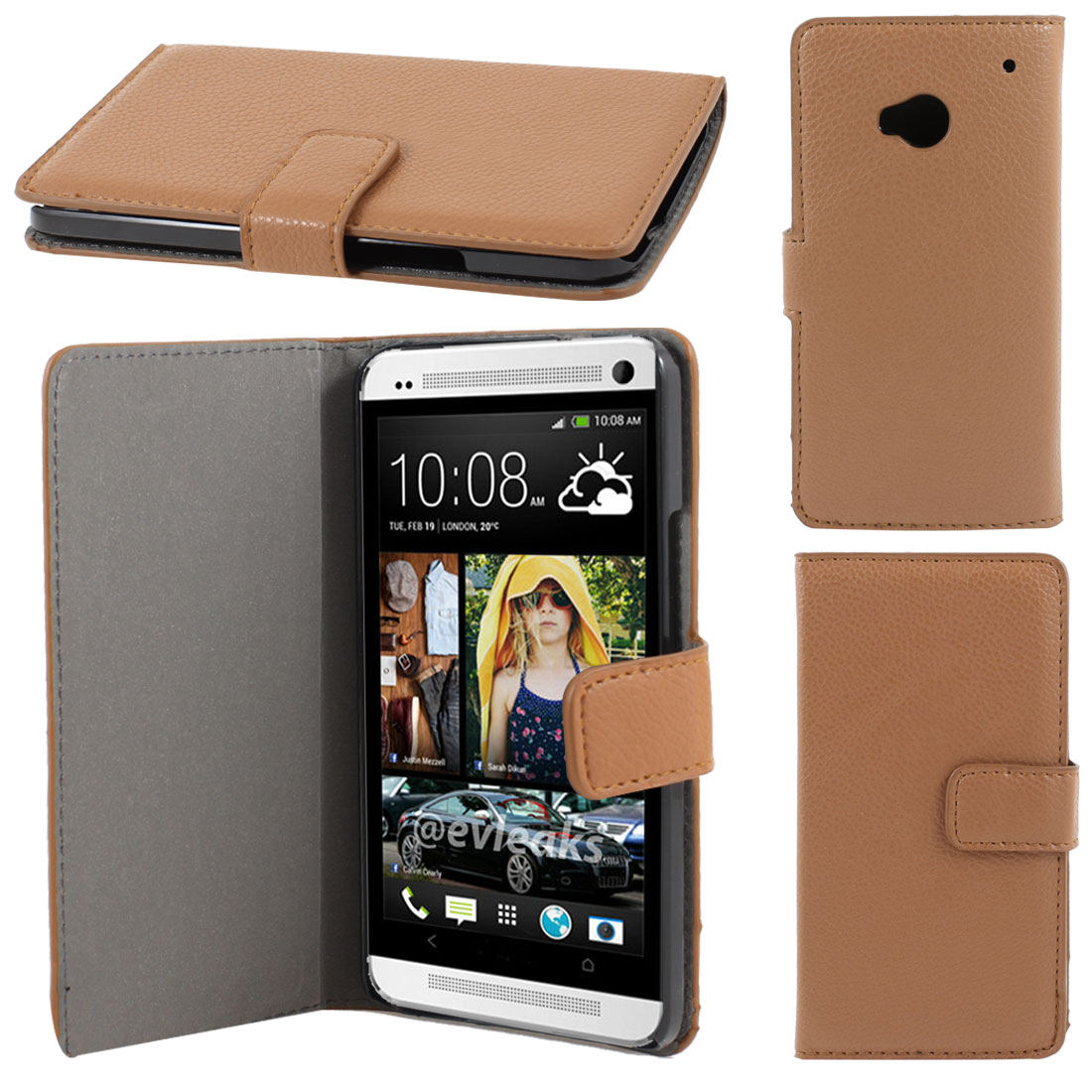 Brown Faux Leather Litchi Print Magnetic Flip Case Cover Pouch for HTC one M7