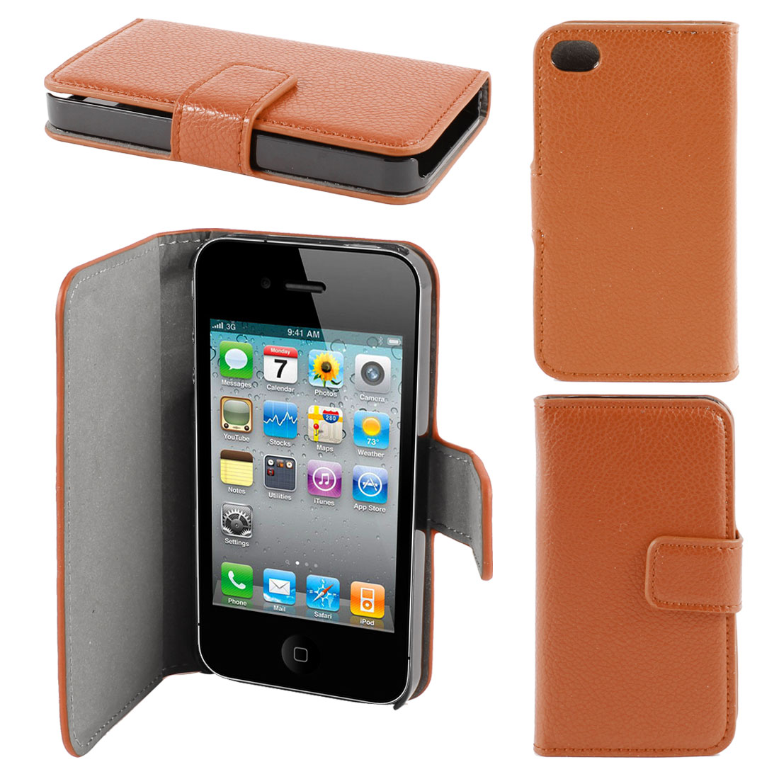 Orange Magnetic Flap Faux Leather Case Cover Protector for Apple iPhone 4 4G