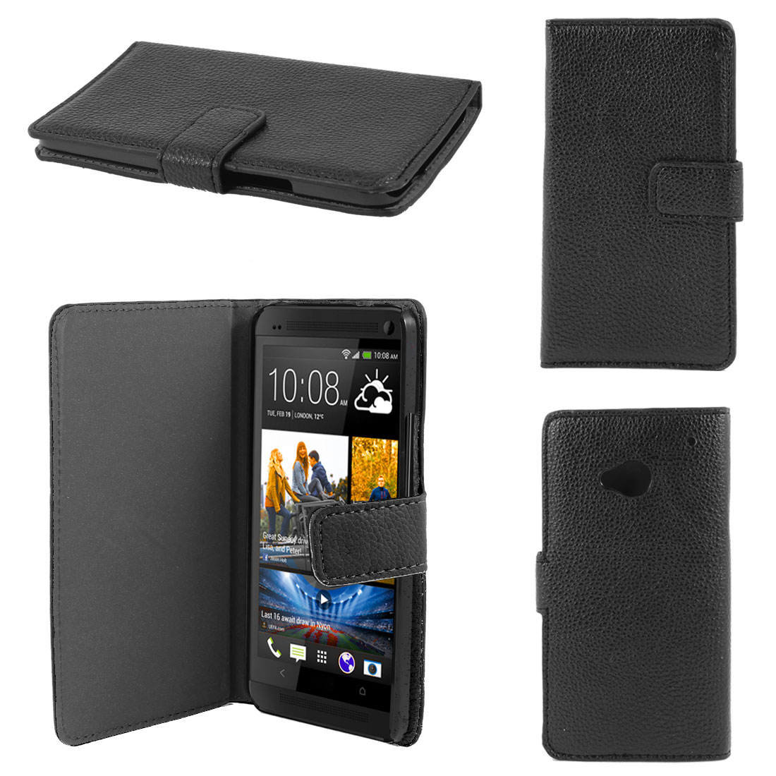 Black Faux Leather Litchi Print Magnetic Flip Case Cover Pouch for HTC one M7