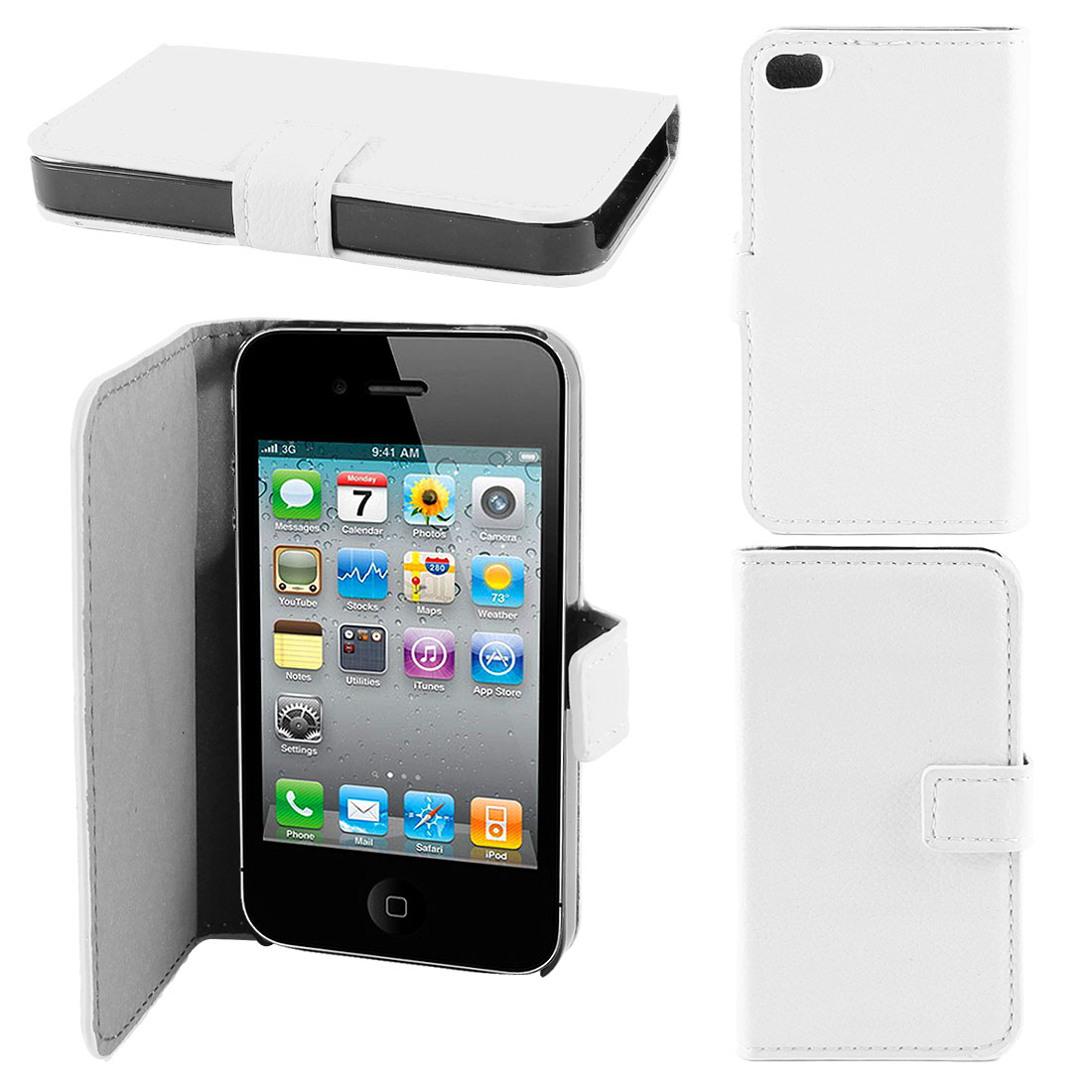 White Magnetic Flap Faux Leather Case Cover Pouch for Apple iPhone 4 4G