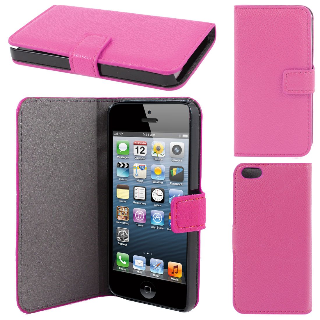 Fuchsia Litchi Pattern Faux Leather Flip Case Cover for Apple iPhone 5 5G