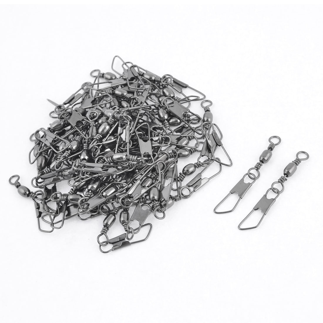 70 Pcs Dark Gray Metal Fishing Line Thread to Hook Shank Swivel Connector 4#