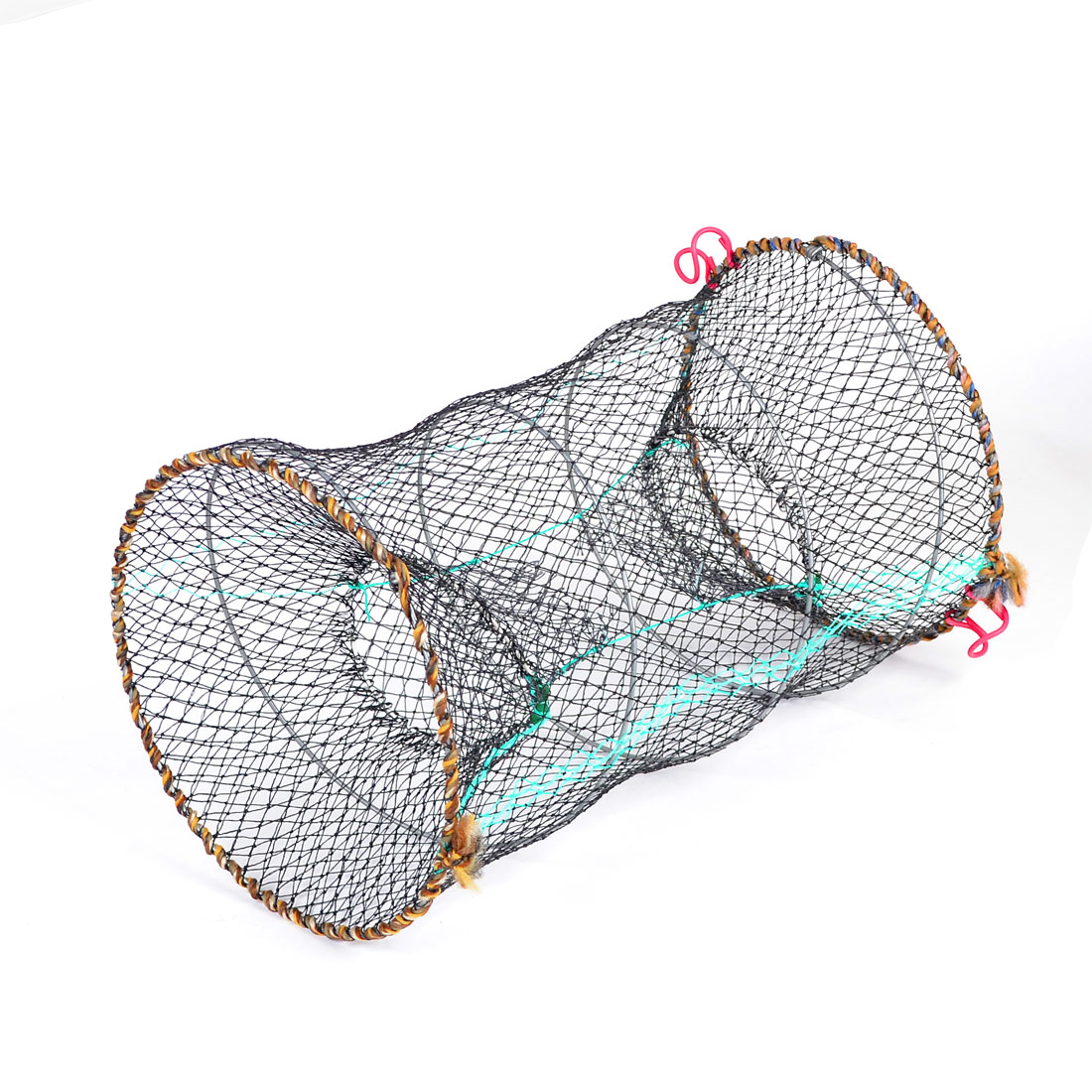 Pond Black 25cm Dia Cylinder Foldable Nylon Mesh Net Shrimp Crawfish Net