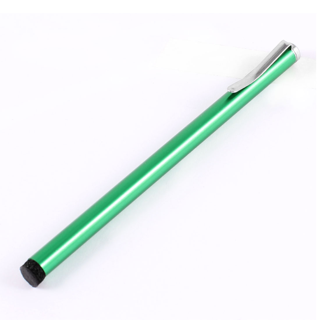 "Sponge Bottom Writing Metal Clip Touch Screen Stylus Pen 4"" Green for Apple iPad"