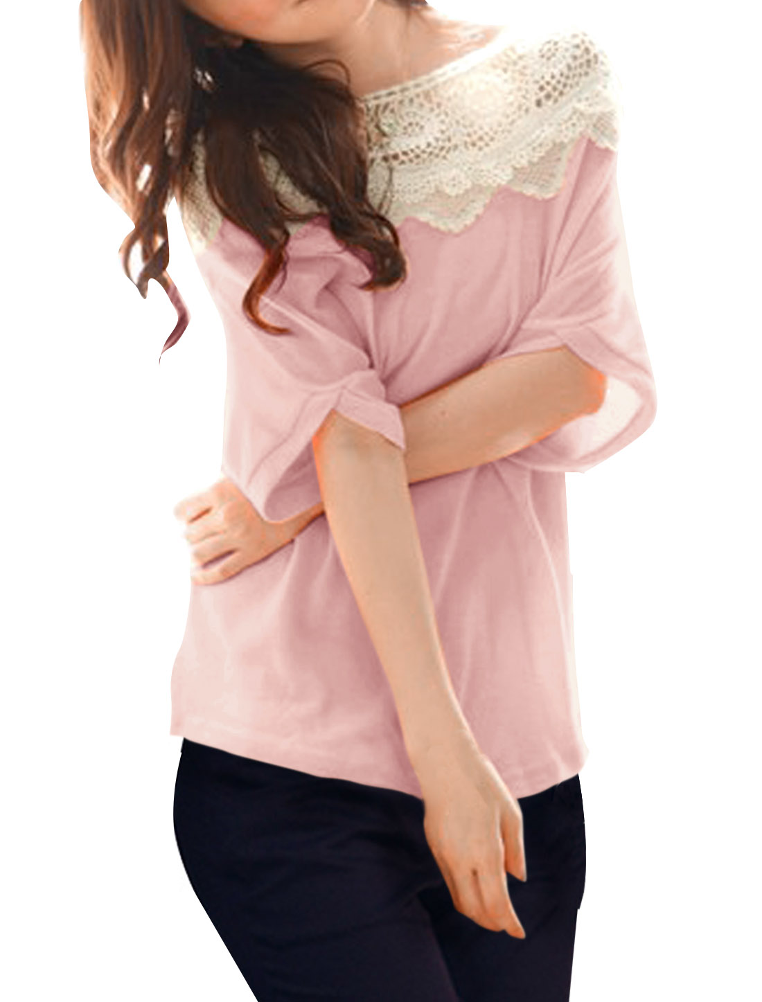 Pullover Crochet Lace Hem Design Pink Tunic Top Shirt for Lady L