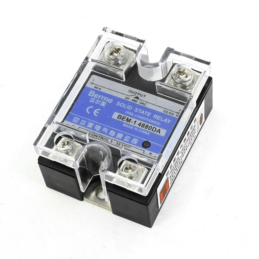 Fluted Side LED Indicator Light DC/AC Solid State Relay 80A 24-480VAC 3-32VDC