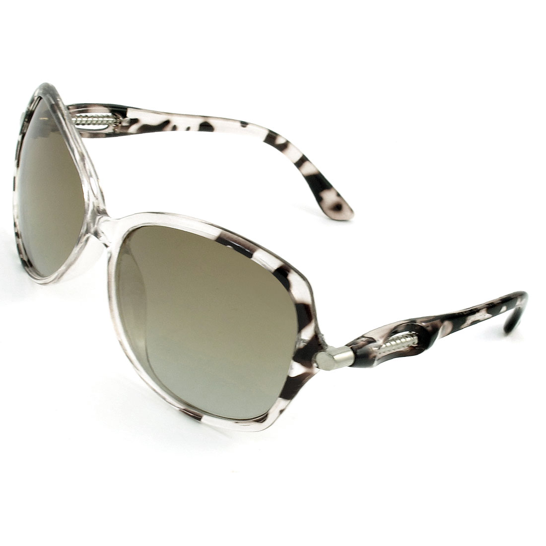 Ladies Coffee Color Clear Rimmed Teardrop Shape Tinted Lens Polarized Sunglasses