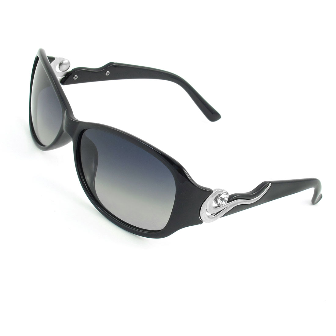 Black Full Rim Metal Wave Detail Temple Polarized Sunglasses for Women