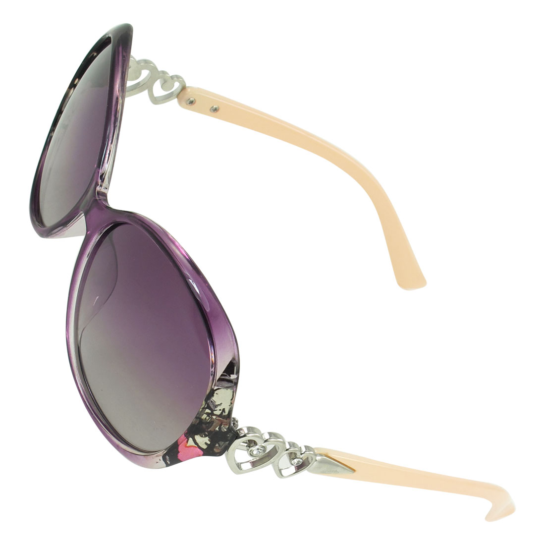 Purple Rimmed Gradient Lens Oversized Eyeglasses Polarized Sunglasses for Woman