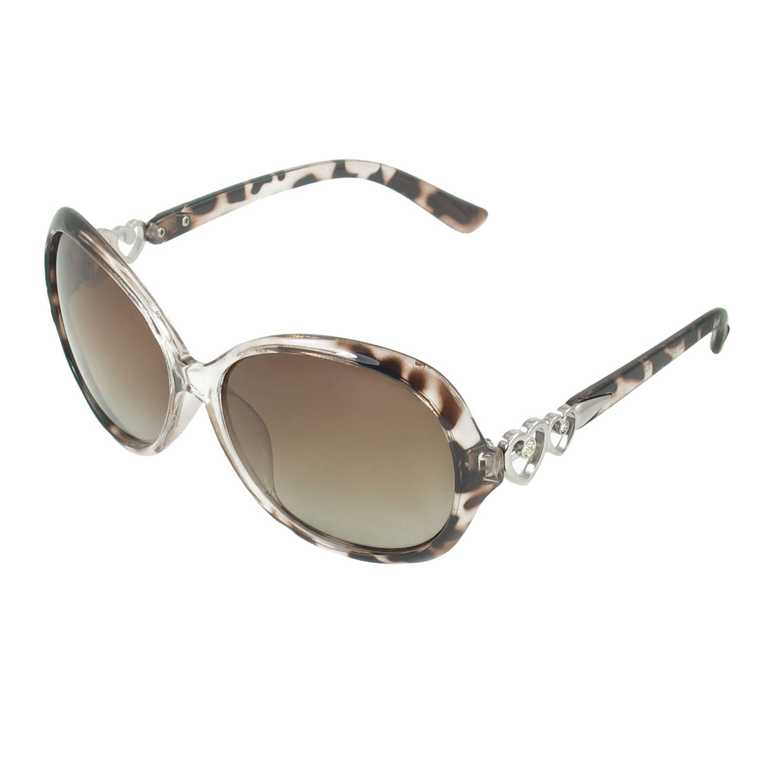 Ladies Brown Clear Arrow Through Dual Heart Detail Temple Polarized Sunglasses