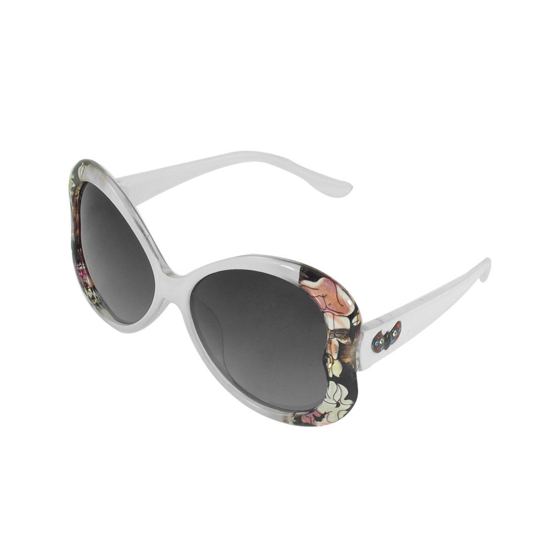 Woman Flowers Print White Full Frame Tinted Lens Oversized Polarized Sunglasses