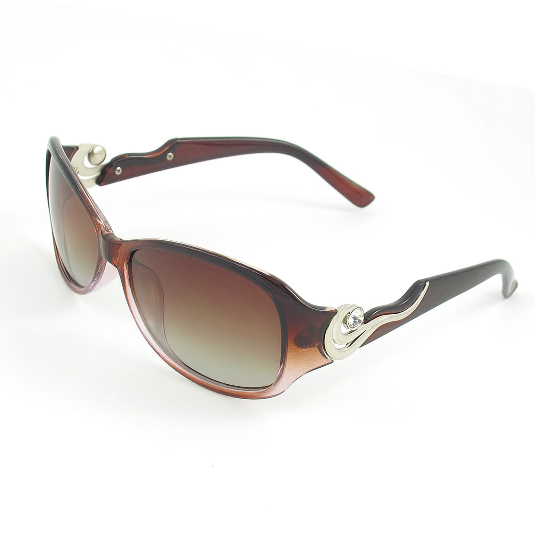Brown Full Rim Metal Wave Detail Wide Temple Polarized Sunglasses for Women