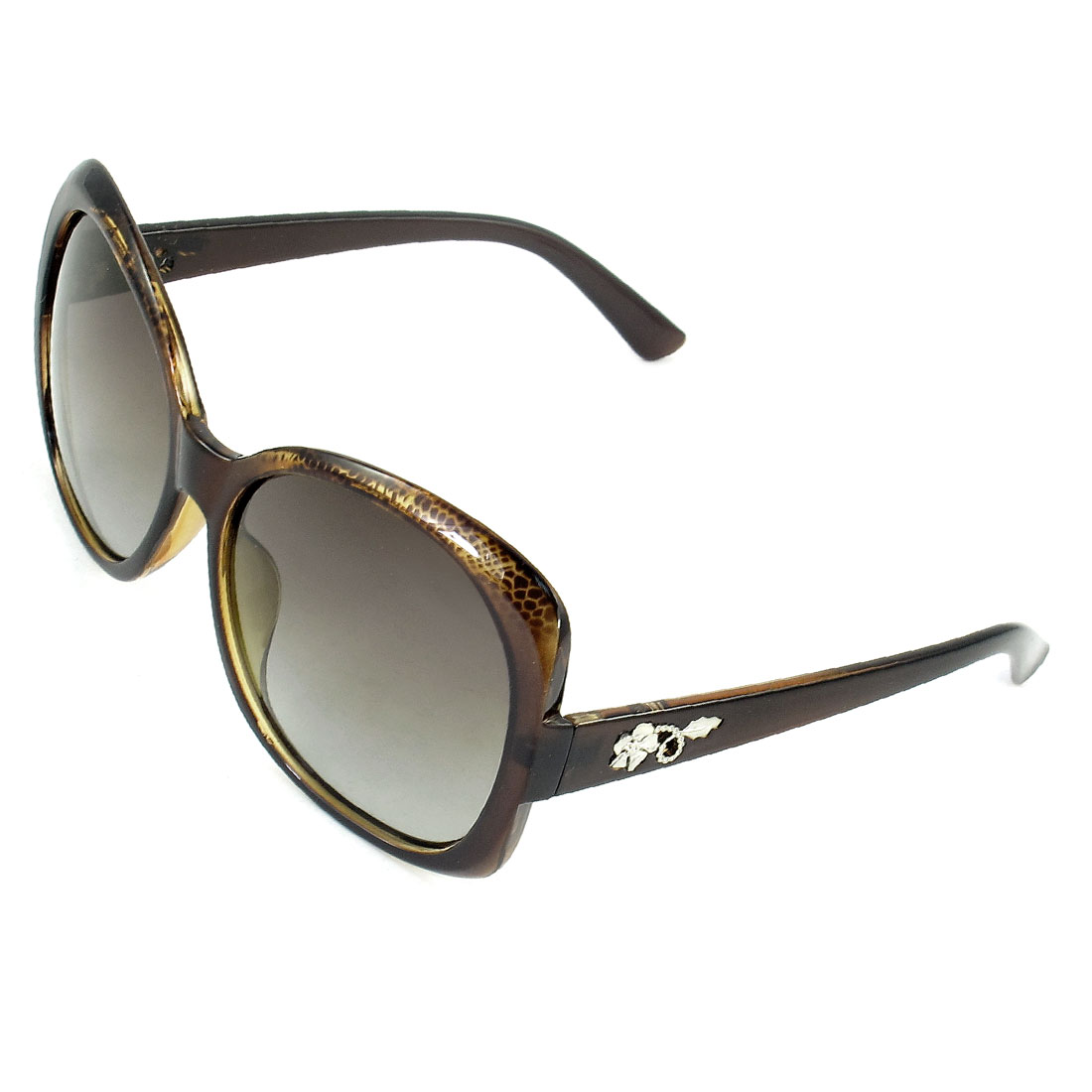 Ladies Snake Print Brown Rimmed Single Bridge Tinted Lens Polarized Sunglasses