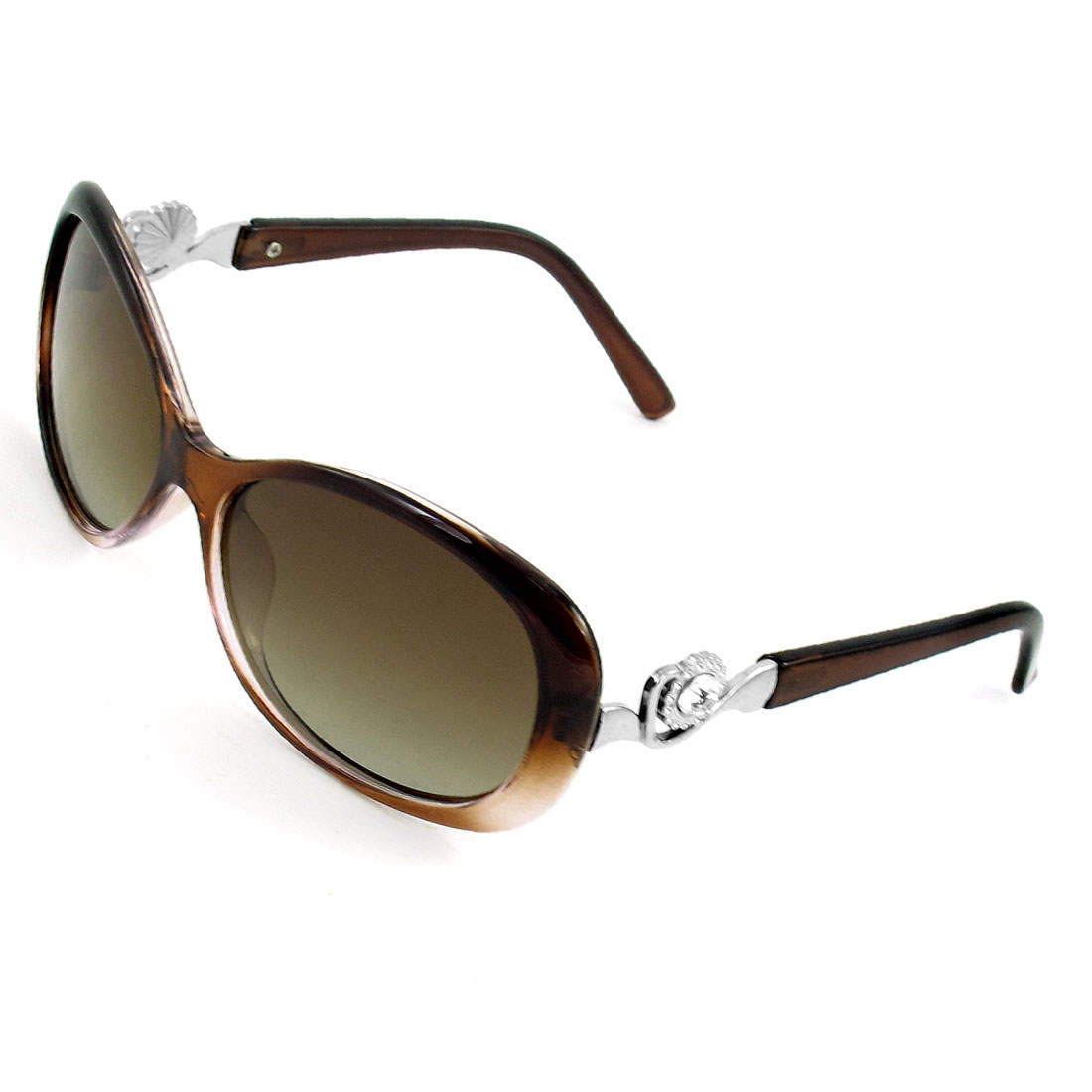 Women Clear Brown Full Rim Rhinestone Detail Metal Temple Polarized Sunglasses