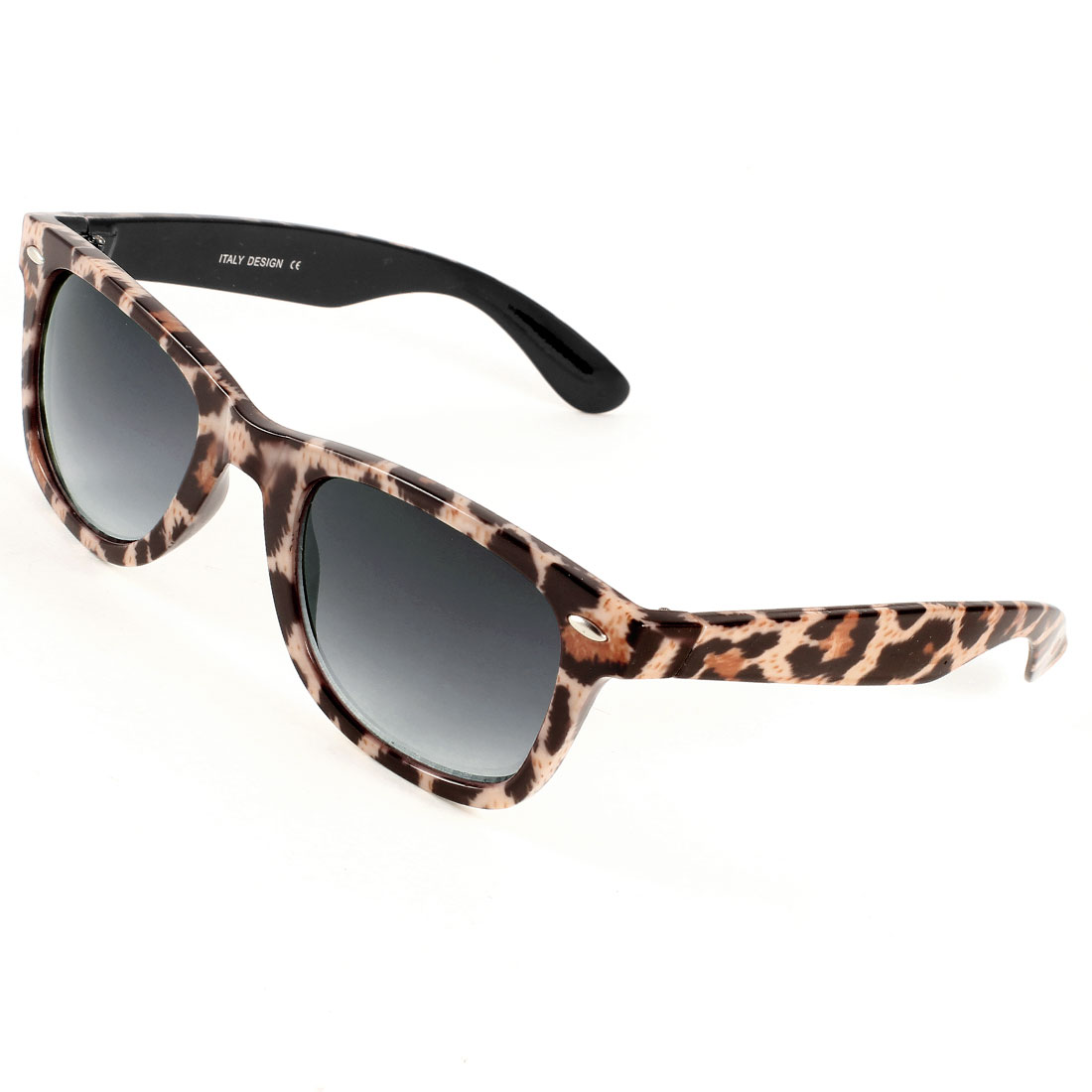 Lady Tear Drop Shape Dark Gray Lens Leopard Printed Sunglasses Eyeglasses