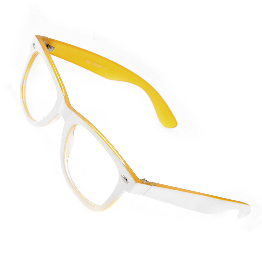 Woman White Orange Plastic Full Rim Single Bridge Eyewear Plain Glasses