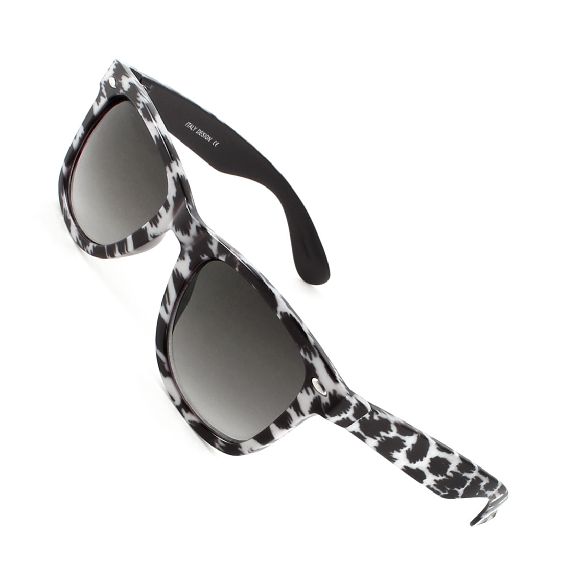Lady Leopard Printed Water Drop Shaped Clear Gray Lens White Black Sunglasses