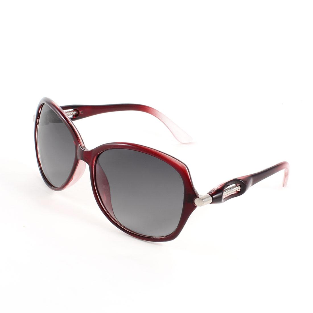 Burgundy Full Frame Dark Gray Lens Outdoor Polarized Sunglasses for Lady