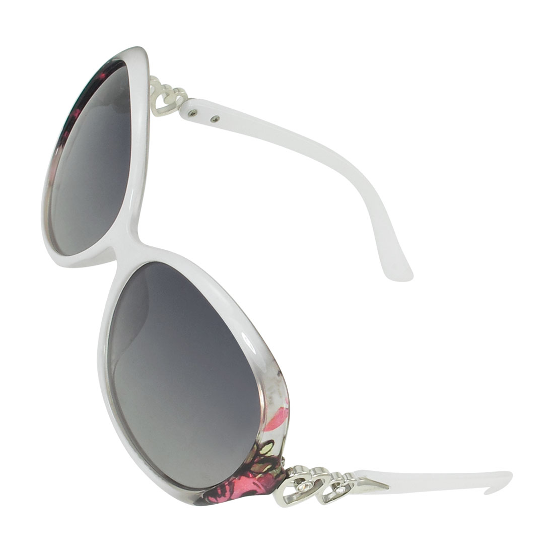 White Round Frame Single Bridge Colored Lens Polarized Sunglasses for Ladies