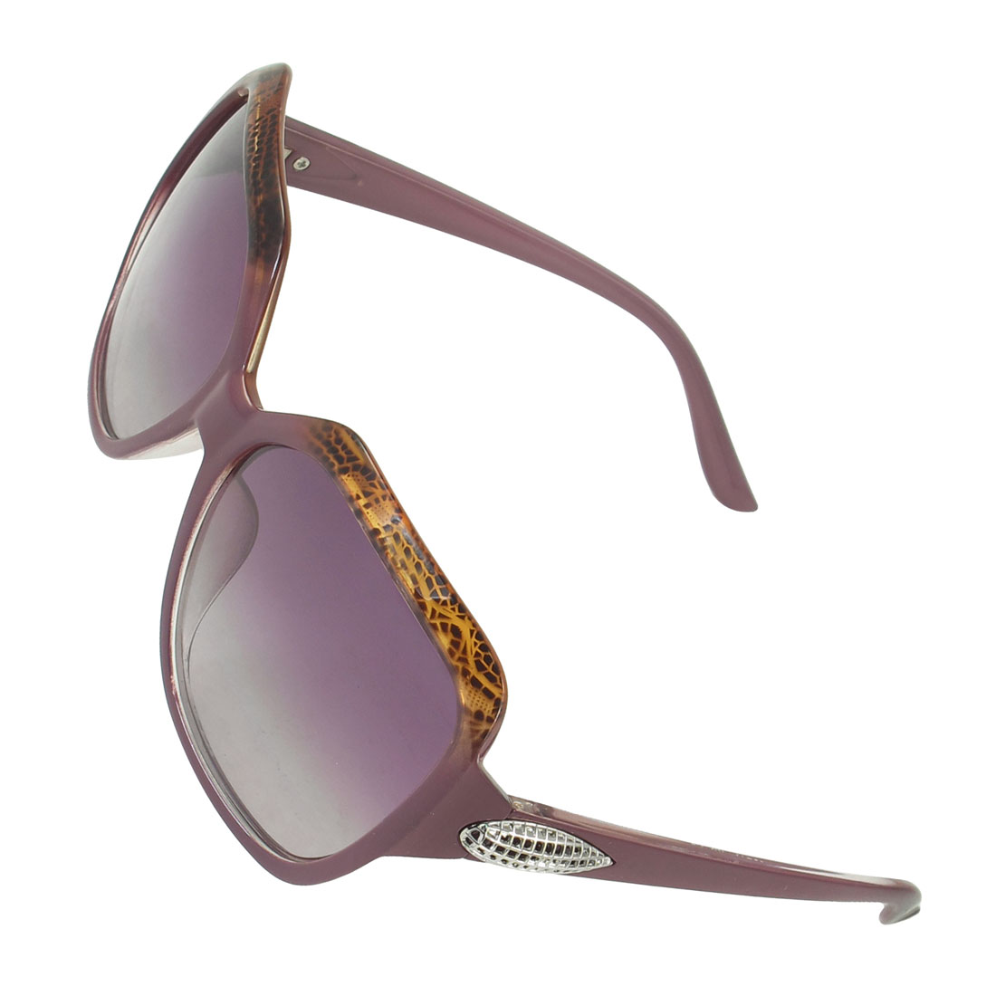 Purple Full Rim Metal Corn Detail Temple Leisure Polarized Sunglasses for Women