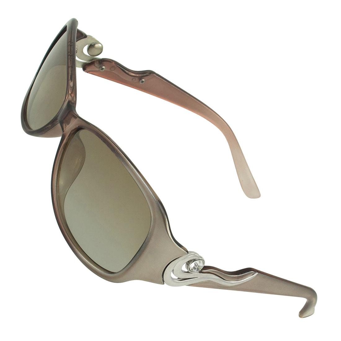 Ladies Light Brown Full Frame Single Bridge Gradient Lens Polarized Sunglasses