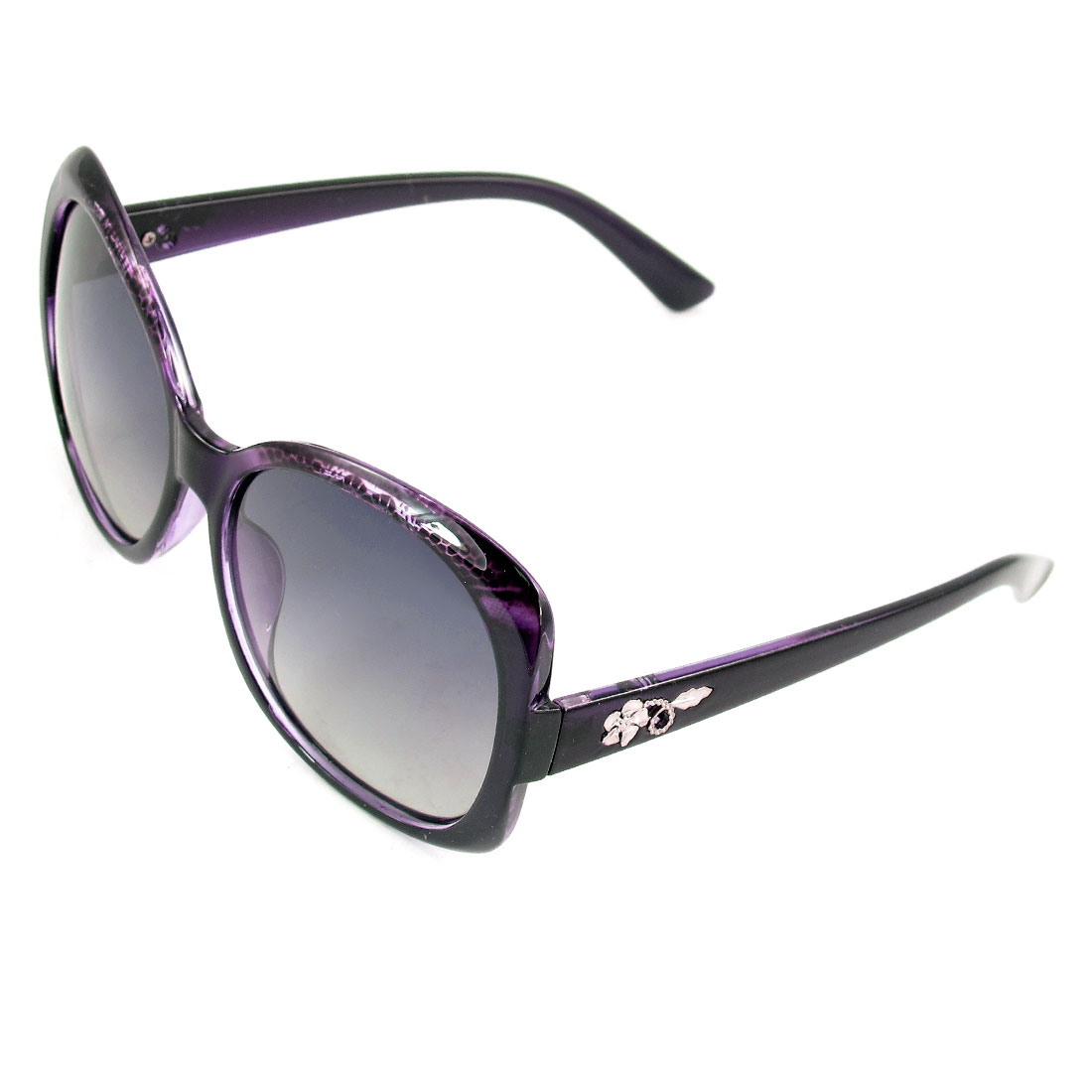 Woman Burgundy Rimmed Gradient Lens Oversized Eyeglasses Polarized Sunglasses