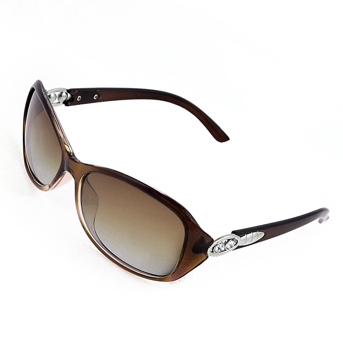 Ladies Brown Plastic Arms Square Lens Polarized Sunglasses