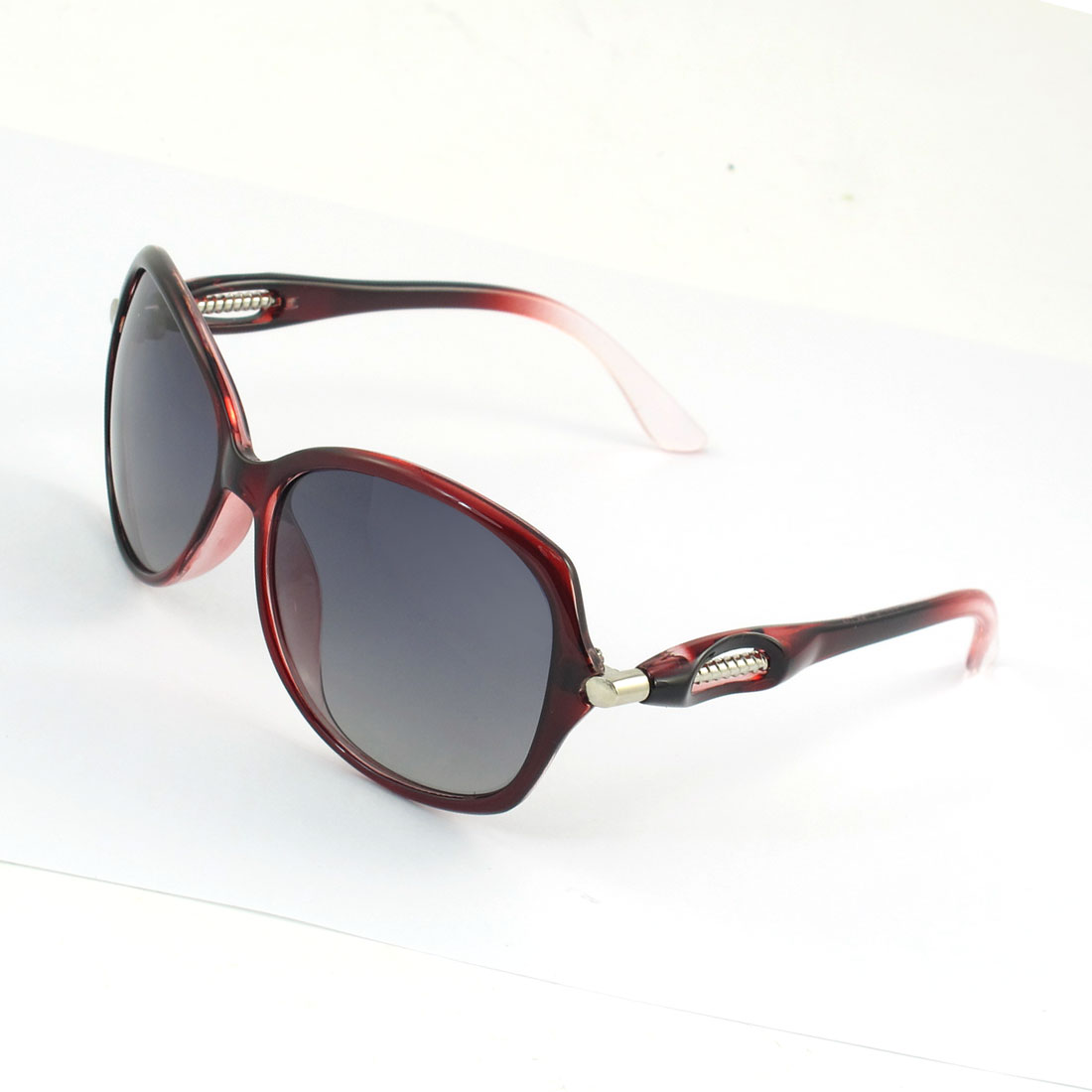 Lady Burgundy Rimmed Single Bridge Gradient Lens Polarized Sunglasses Eyeglasses