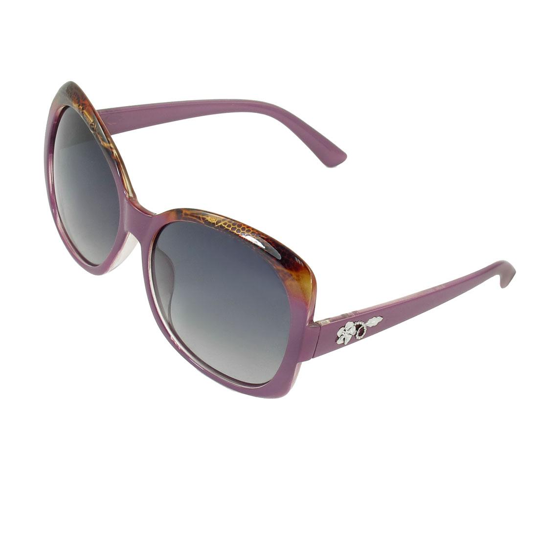 Ladies Snake Print Purple Rimmed Single Bridge Tinted Lens Polarized Sunglasses
