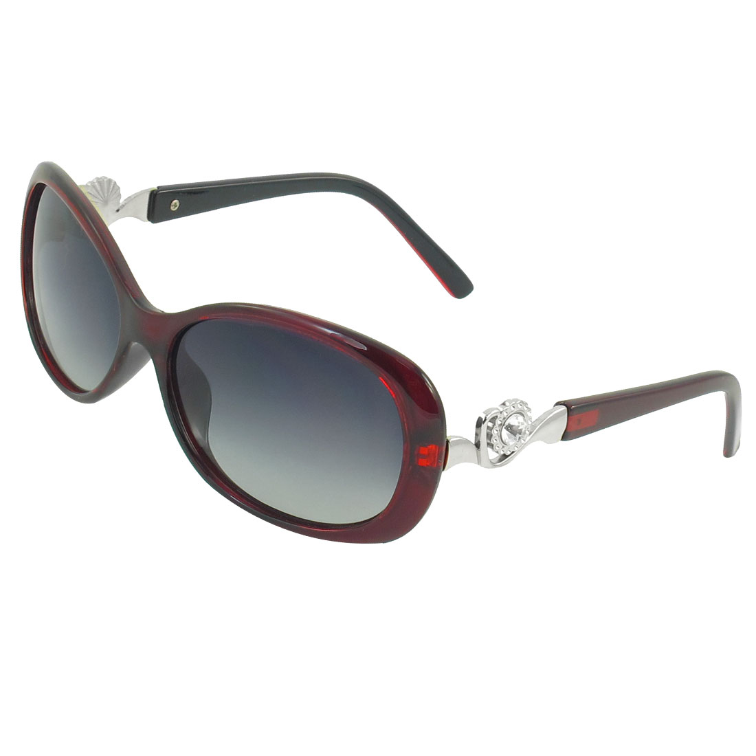 Burgundy Rimmed Rhinestone Inlaid Metal Temple Polarized Sunglasses for Woman