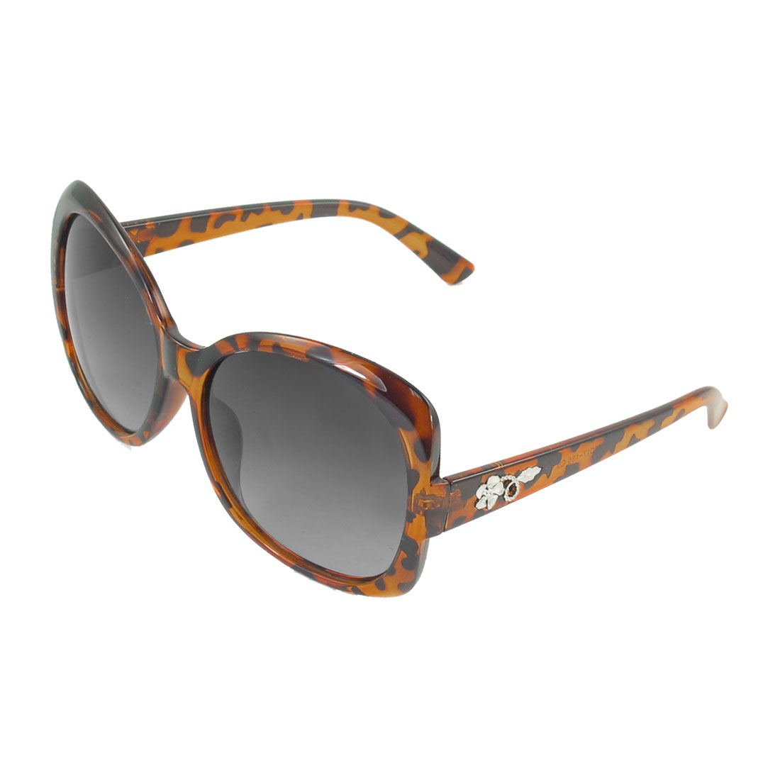 Women Brown Black Full Rim Metal Flower Accent Wide Temple Polarized Sunglasses