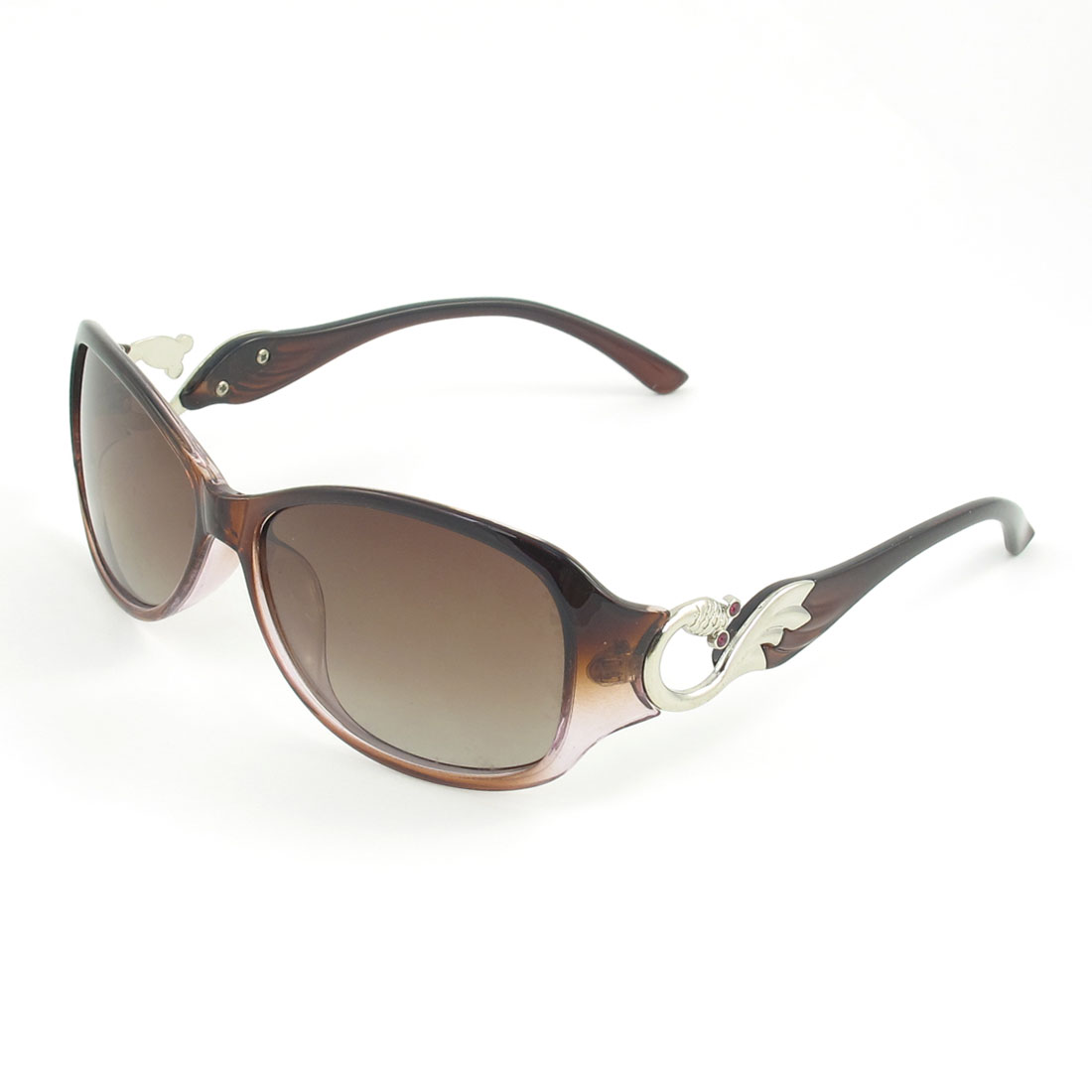Ladies Brown Rimmed Single Bridge Oval Shape Tinted Lens Polarized Sunglasses