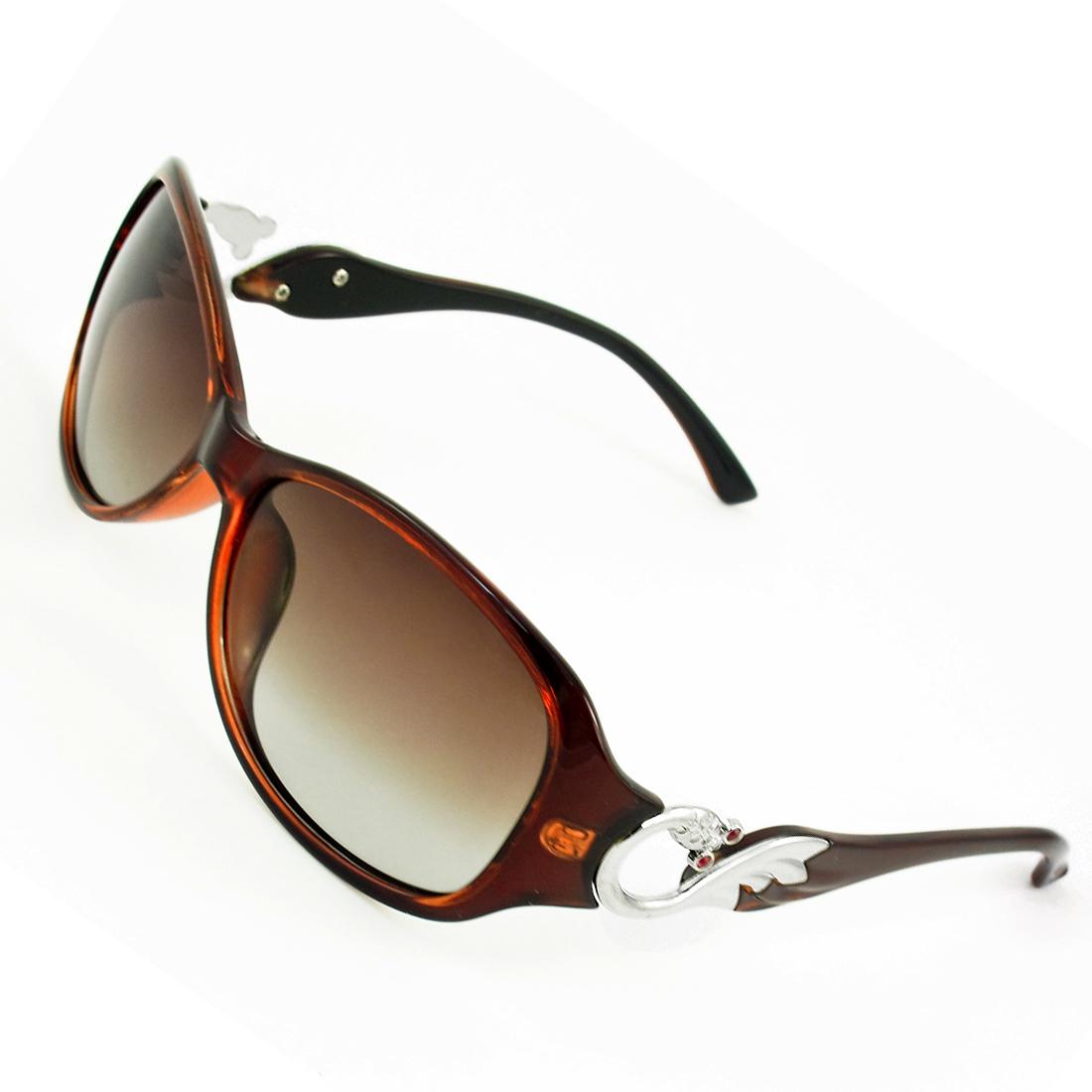 Ladies Burgundy Single Bridge Metal Goldfish Detail Arms Polarized Sunglasses