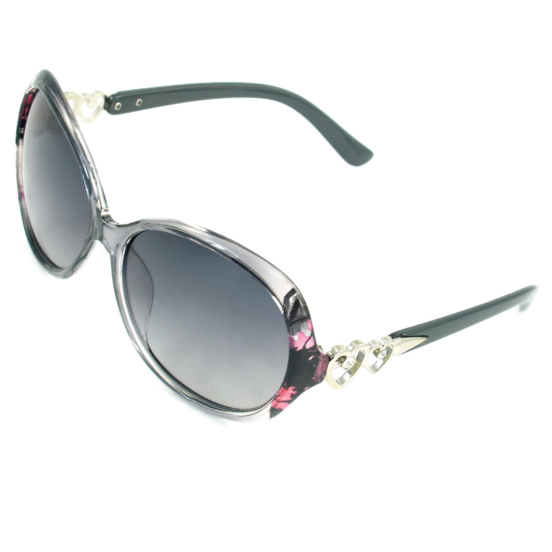 Women Gray Clear Full Frame Arrow Through Dual Heart Temple Polarized Sunglasses