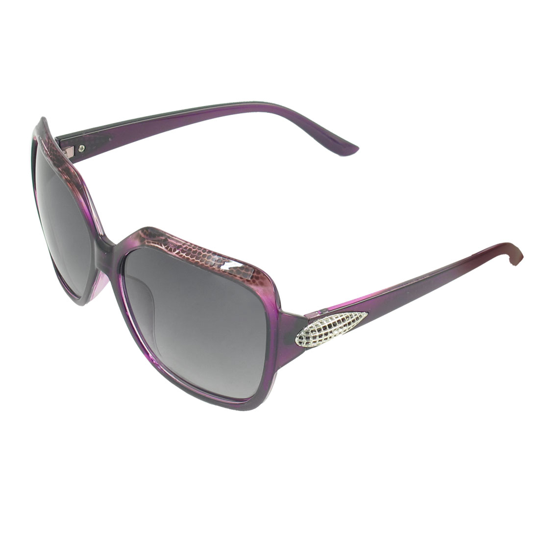 Women Burgundy Full Rim Metal Corn Detail Temple Leisure Polarized Sunglasses