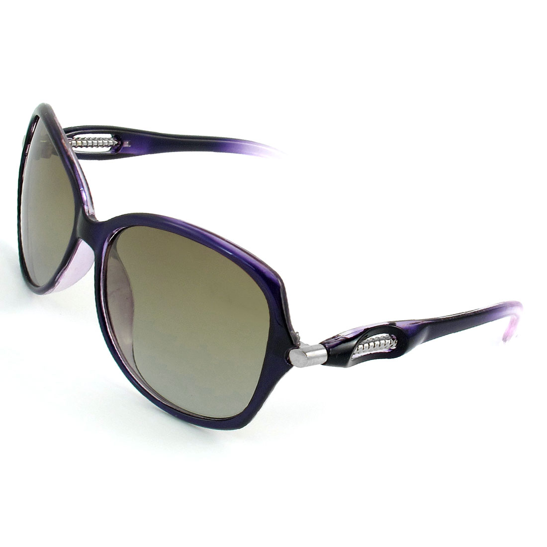 Woman Purple Rimmed Single Bridge Gradient Lens Polarized Sunglasses Eyeglasses