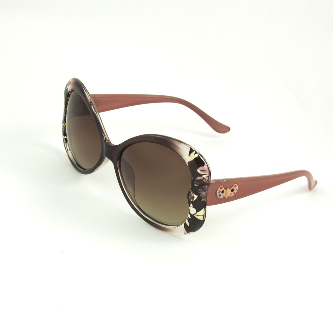 Women Flowers Pattern Brown Clear Full Rim Gradient Lens Polarized Sunglasses