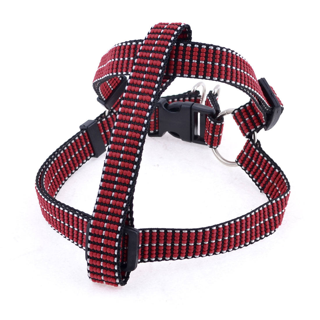 Red Black Adjustable Collar Flat Rope Dog Harness Chest Strap L