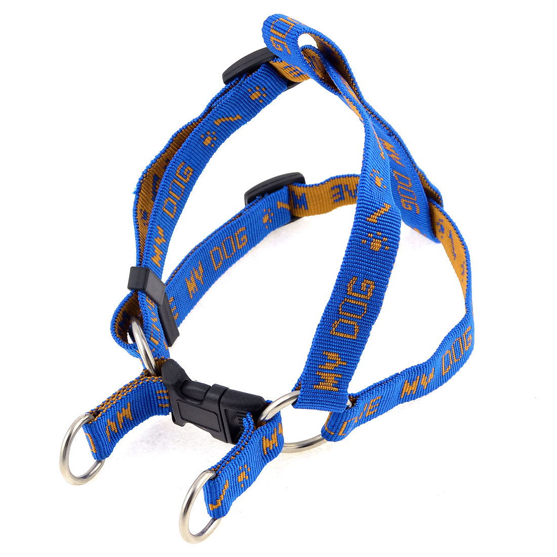 Blue Textured Nylon Rope Adjustable Pet Dog Chest Strap Harness Collar Size L